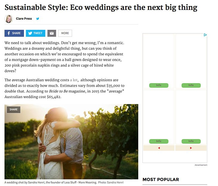 Eco weddings in Sydney Morning Herald by Clare Press