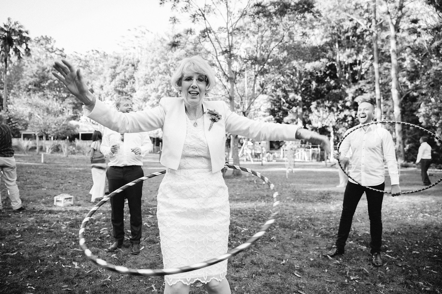 Guest hoola hooping at wedding