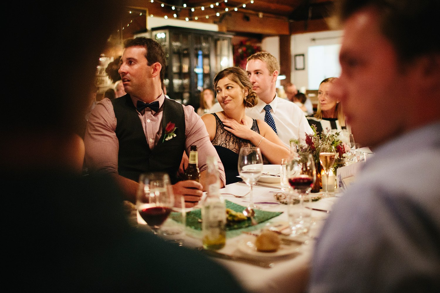 Guest getting emotional at wedding