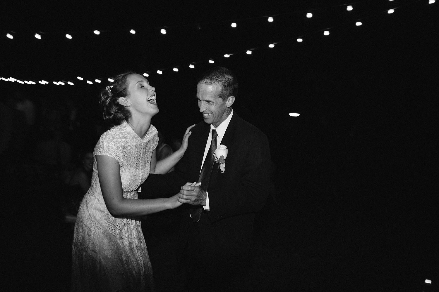 Fun father daughter dance at wedding