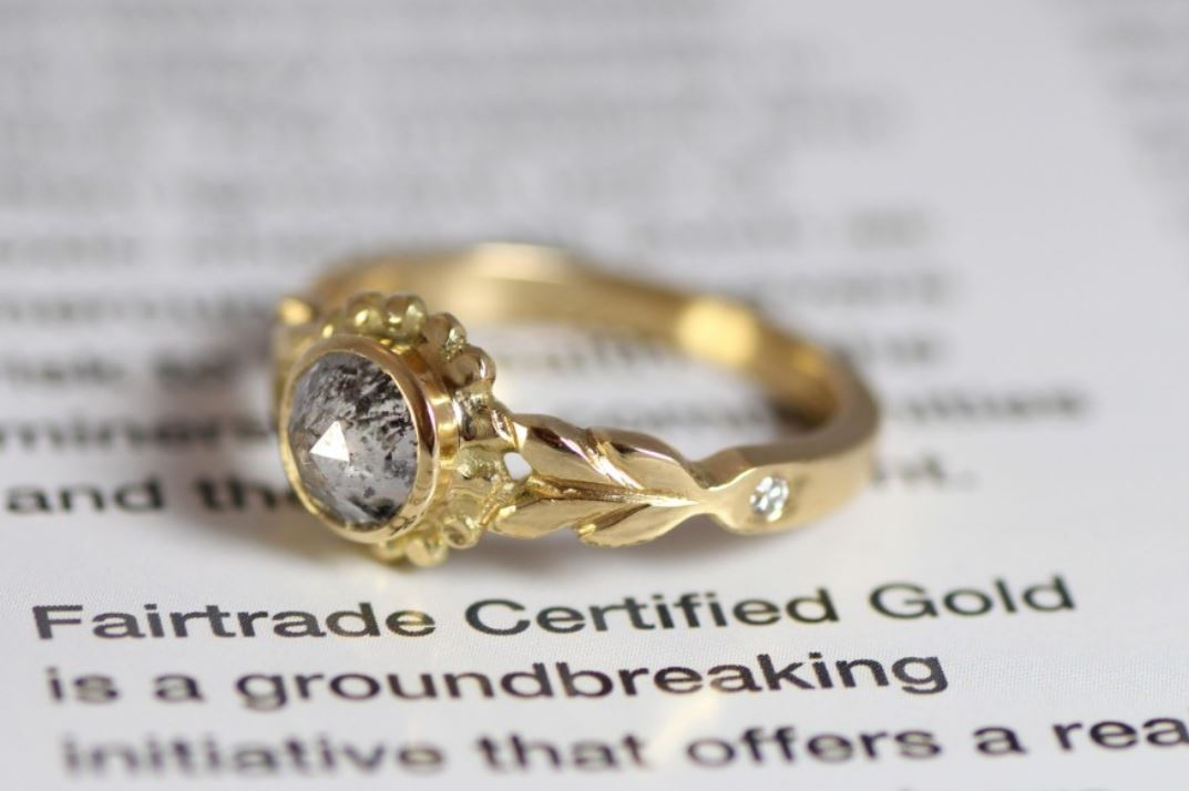 Fair trade leaf engagement ring 18ct yellow gold.JPG