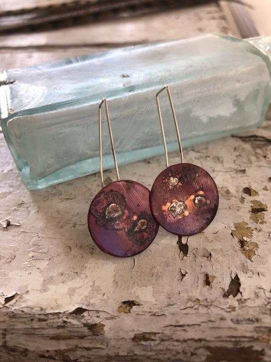 Recycled copper earrings, handmade by Green Glass Studio