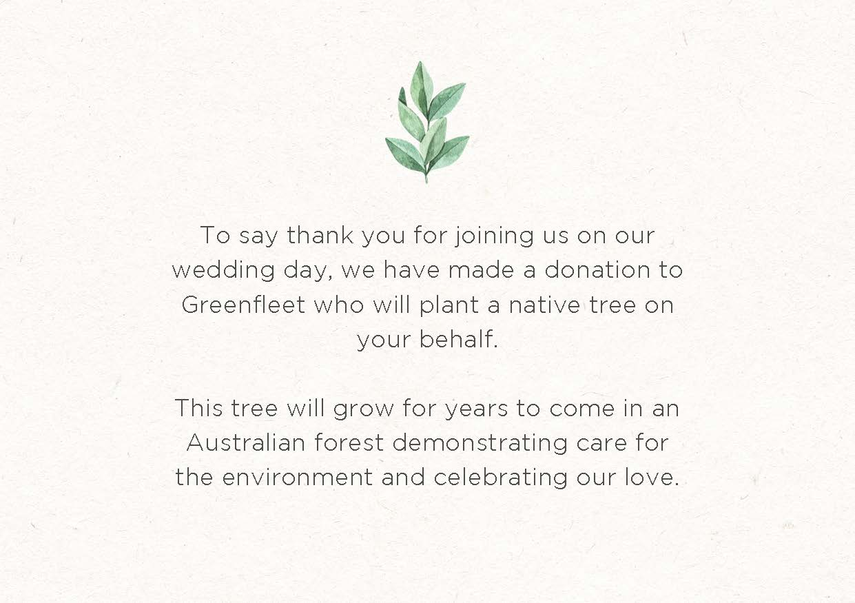 Greenfleet Wedding Favour Cards example - plant a tree for each of your guests